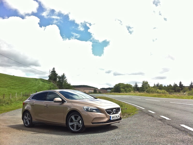 Volvo V40 parked alongside the Evo Triangle in North Wales