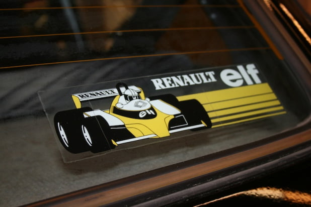 Renault Elf sticker on rear window of Renault 5 at Paris Motor Show 2012
