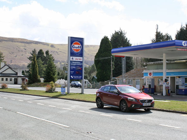 Volvo V40 Cross Country at petrol station on A470