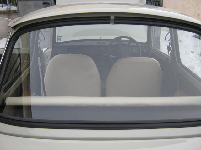 Right-hand drive Trabant 601 through the rear window