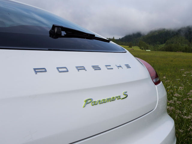Rear badge on the new Porsche Panamera S E-Hybrid