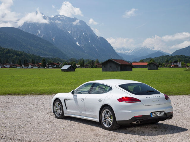 Rear view of the new Porsche Panamera S E-Hybrid in Germany