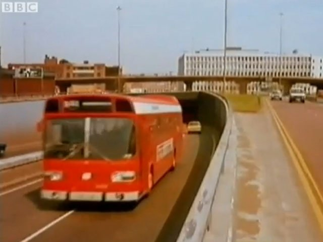 Leyland National bus in Telly Savalas looks at Birmingham