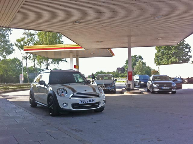 MINI Clubvan Camper at services on the Autobahn