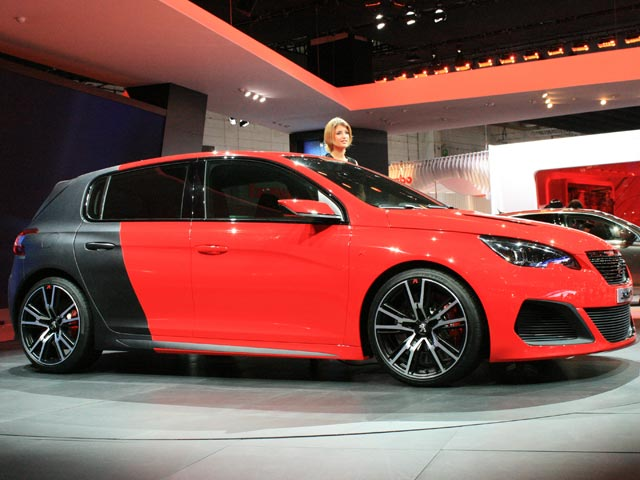 Peugeot 308R and model at the Frankfurt Motor Show 2013
