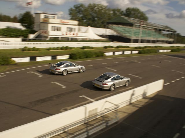 Porsches on track at Goodwood