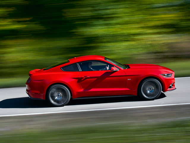 2015 Ford Mustang on the road