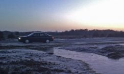 Audi 80 on frosty morning