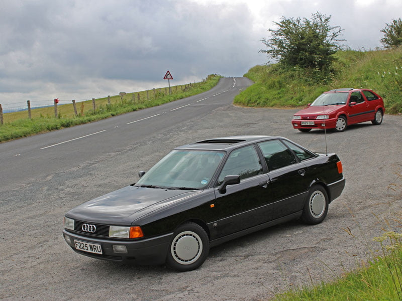 Audi 80 and Citroen ZX 16v on B3081