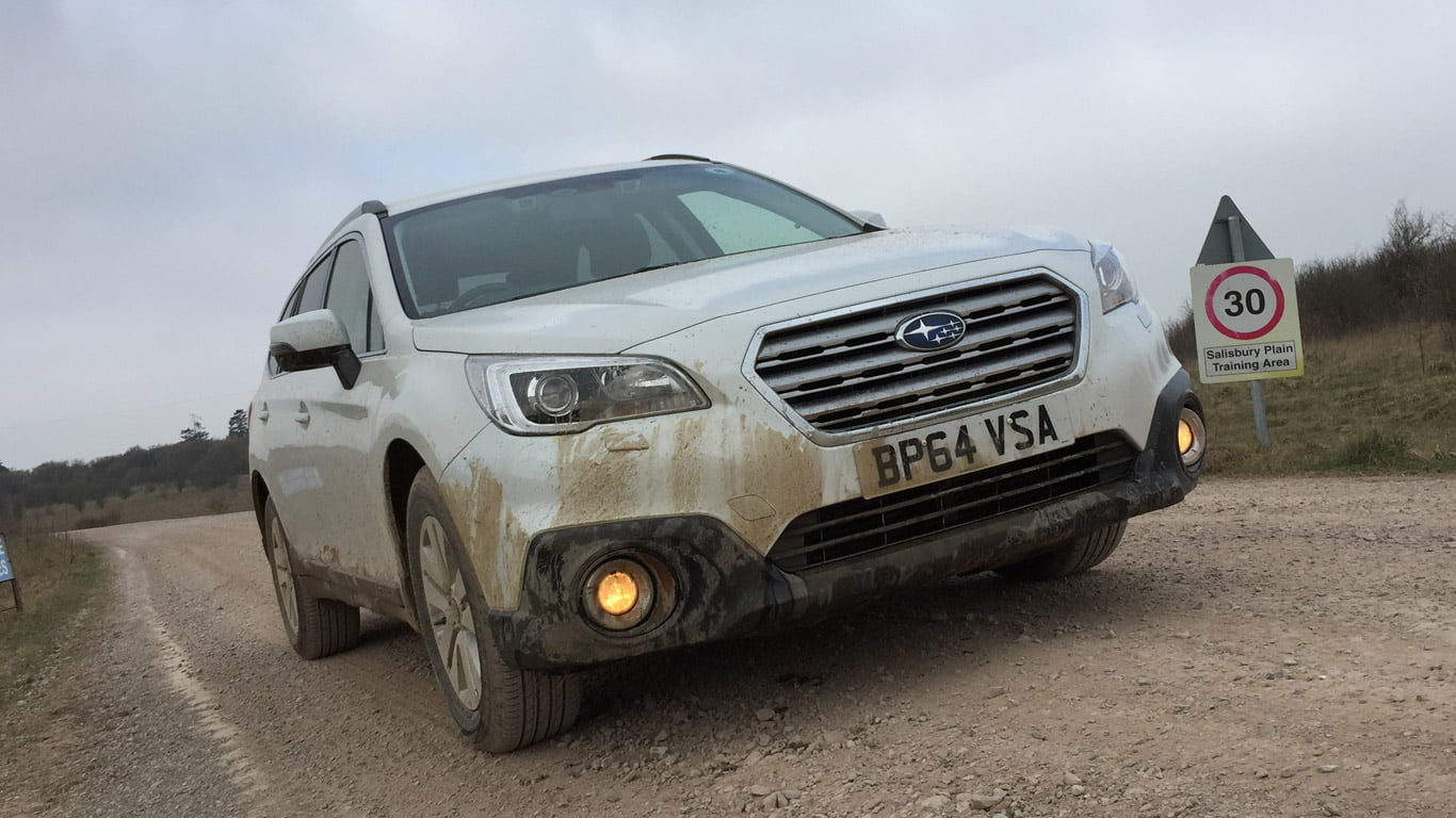 2015 Subaru Outback getting muddy on Salisbury Plain