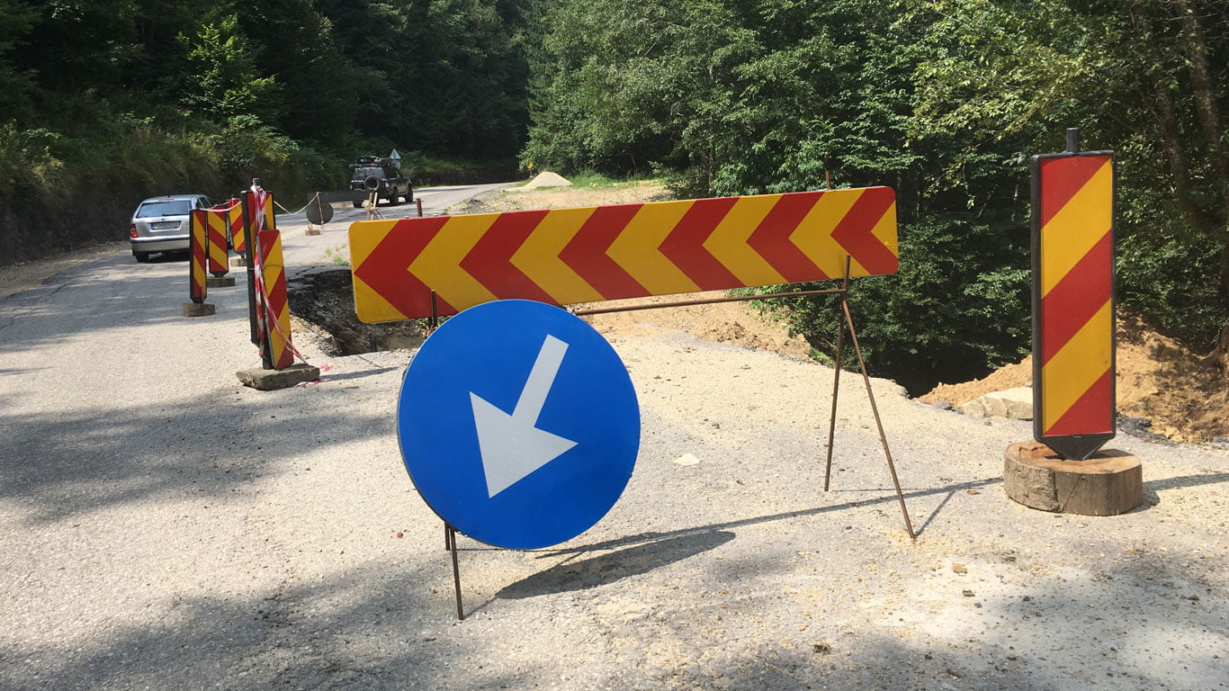 Road works on the Transfagarasan Highway