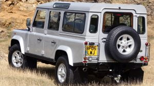 Land Rover Defender off-centre number plate