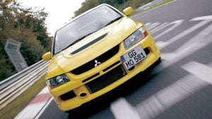 Mitsubishi Lancer Evo off-centre number plate