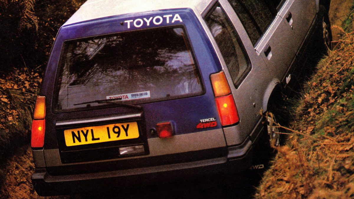 Toyota Tercel 4WD estate off-centre number plate