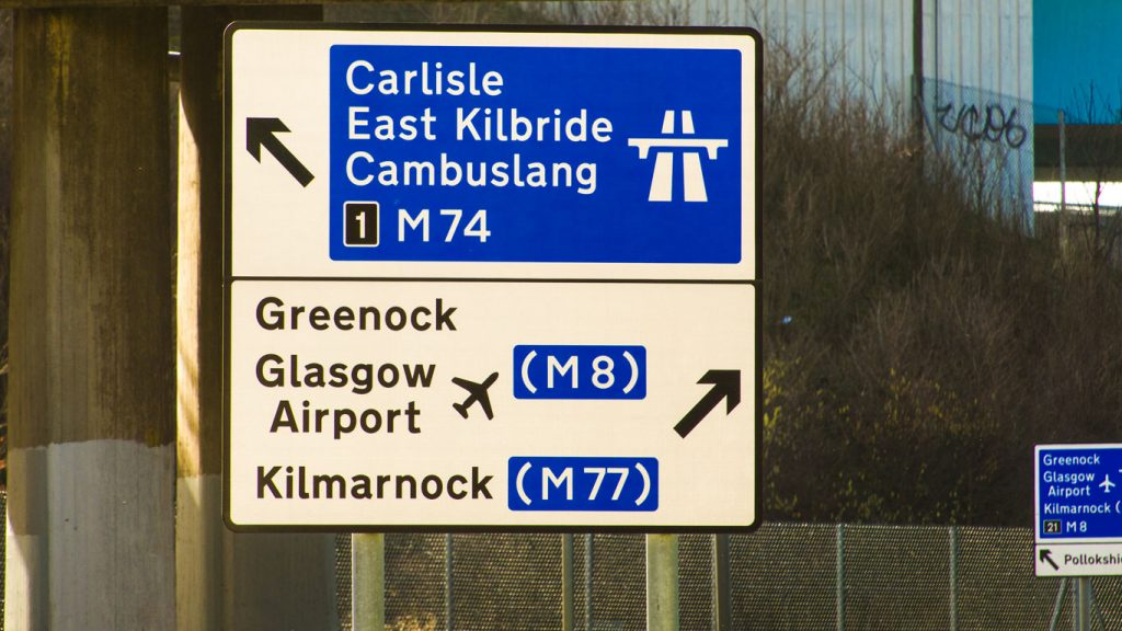 Glasgow Airport sign