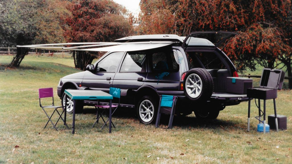 Ford Escort Seeka with awning open